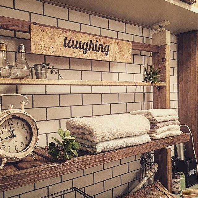 サブウェイタイルのインテリア実例《洗面・脱衣室》4