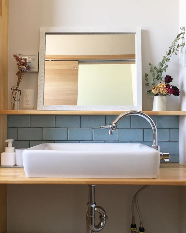 サブウェイタイルのインテリア実例《洗面・脱衣室》5
