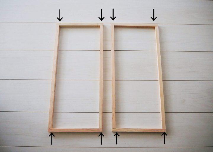 1.ラックの側面になる木枠を2つ作る3