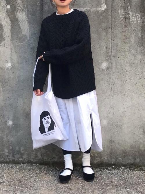 大人女子のシャツワンピコーデ《白》6
