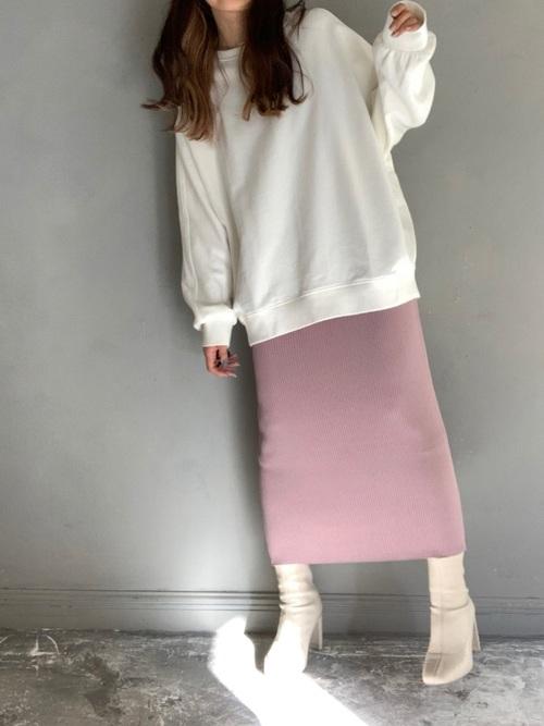 スウェット×リブニットスカート