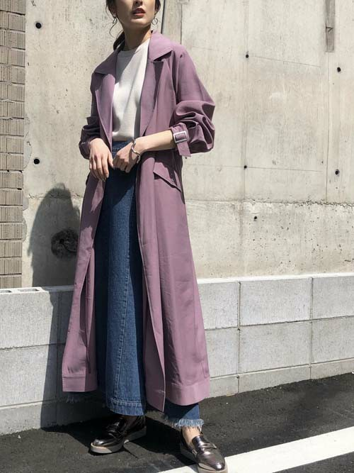 [HER CLOSET] 【&g'aime】サイドスリットデニムスカート