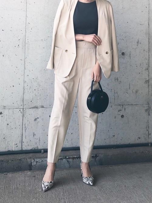 [LAVEANGE] 【ファッションインフルエンサーerikoさん×LAVEANGEコラボ】リネンタッチ テーパードパンツ