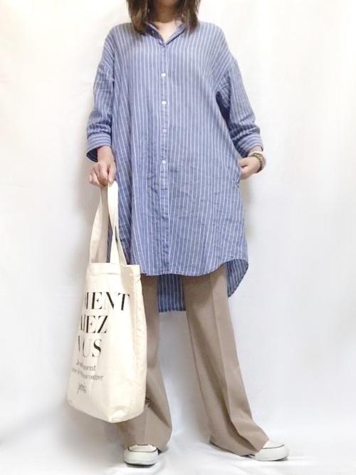大人女子のシャツワンピコーデ《青系》3