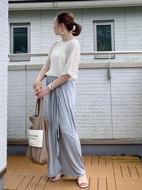 [YARD PLUS/AUNT MARIE'S] AUNT MARIE'S シフォン楊柳ハーフスリーブブラウス