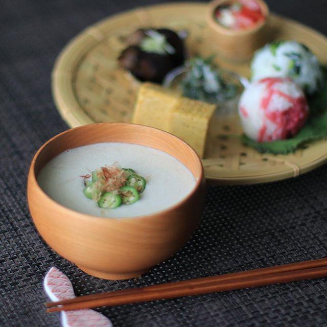 夏の和食に!里芋とオクラの冷製豆乳スープ