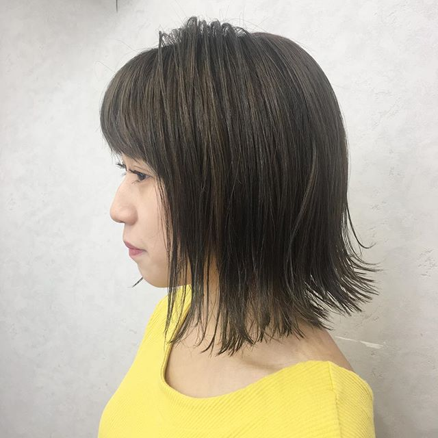 【前髪あり】バレイヤージュカラー×ボブ