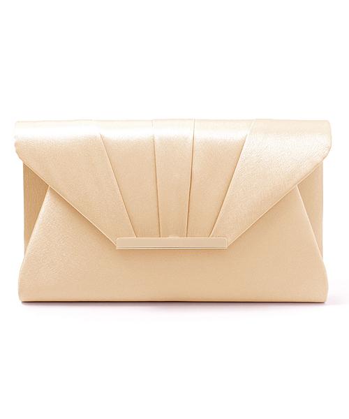 [GIRL] 【結婚式・お呼ばれ対応パーティーバッグ】ゴールドプレートサテンプリーツ2wayクラッチバッグ