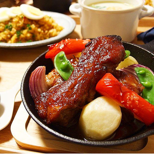 パーティー料理に!スペアリブと野菜焼き