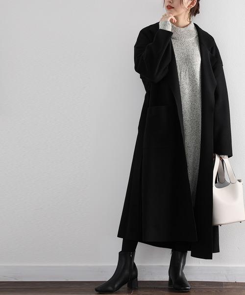[Classical Elf] ハイネック無地ひざ丈タイトニットワンピース(長袖)