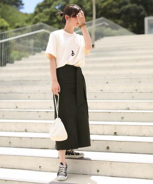 [select MOCA] ハイウエストロング丈ペンシルスカート/取り外し可能なリボン付き/アンクルスカート