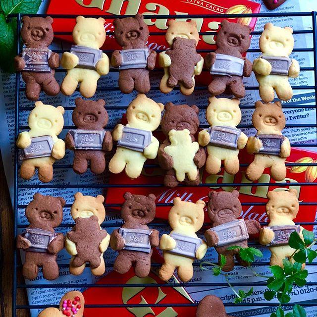 人気レシピ!チョコを抱っこしたくまクッキー