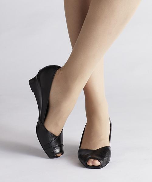 [ANDEX shoes product] coca / コカ オープンゥ 切替 ウェッジパンプス ウェッジソール 楽 デート オフィス ビジネス 靴 くつ 痛くない 歩きやすい 型押し レザー 118006
