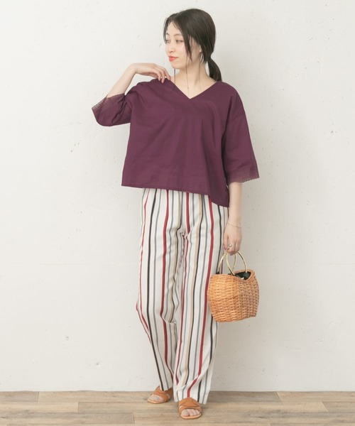 [URBAN RESEARCH ROSSO WOMEN] F by ROSSO 袖レースVネックブラウス