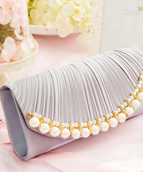 [DRESS STAR] 【結婚式・お呼ばれに使えるパーティーバッグ】パールビジューラディアルサテンクラッチバッグ