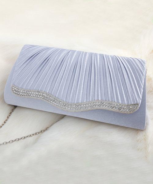 [DRESS STAR] 【結婚式・お呼ばれに使えるパーティーバッグ】ビジューラディアルサテンプリーツクラッチバッグ