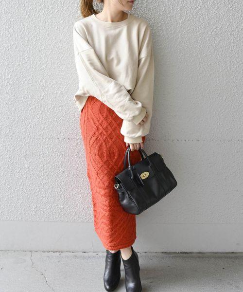 [SHIPS for women] Khaju:ケーブルニットスカート