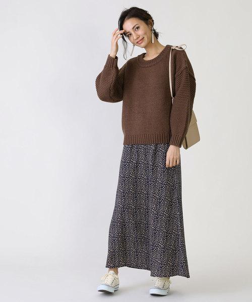 ファッションニット×プリントスカート