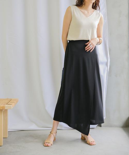 [select MOCA] レイヤードディフォメーションスカート/ウエストゴム入りロングラップスカート