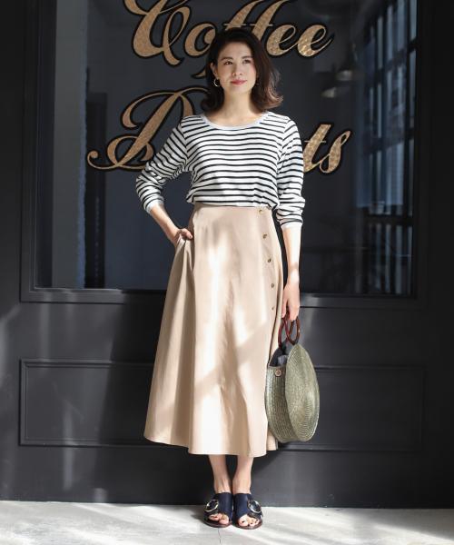[BABYLONE] メタルボタンフレアスカート
