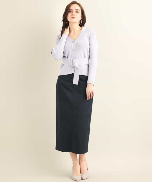 ベルト付きリブカーディガン×タイトスカート
