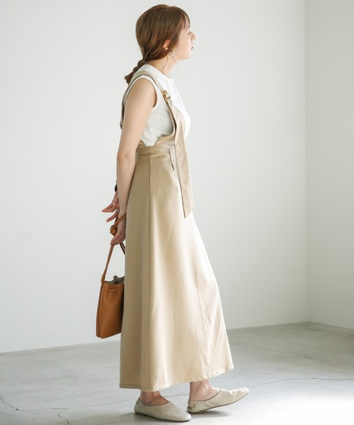 [select MOCA] ワンショルダーサロペットスカート/ウエストゴムアジャスター付きワンショルスカート