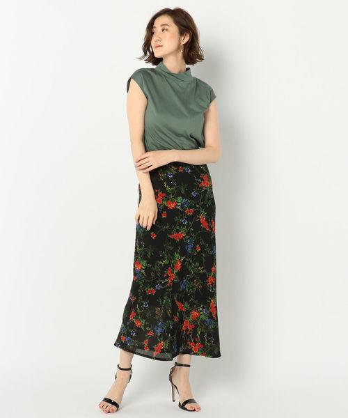 [NOLLEY'S] フラワープリントナローロングスカート