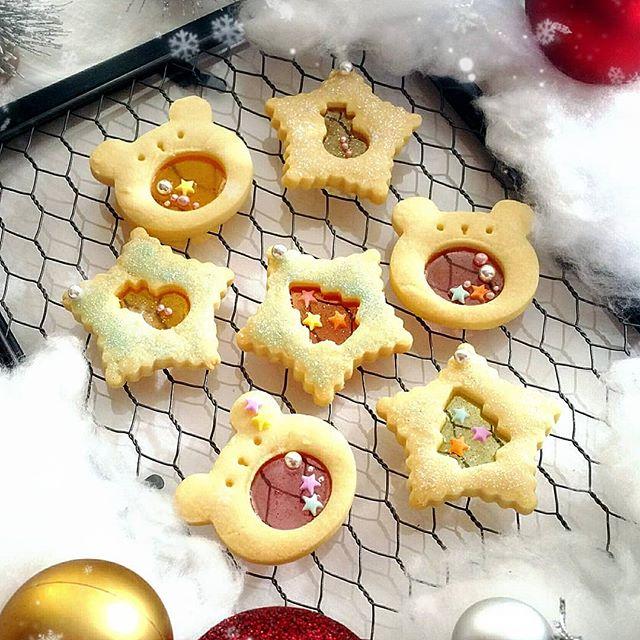 くまさんステンドグラスクッキー