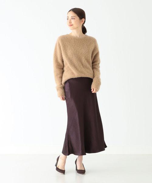 [BEAMS WOMEN] Demi-Luxe BEAMS / サテン フレアスカート