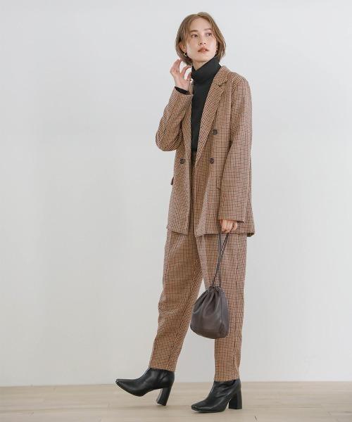 ダブル釦ジャケット×パンツの服装