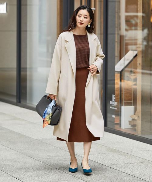 ファッションニット×ミモレ丈ニットスカート