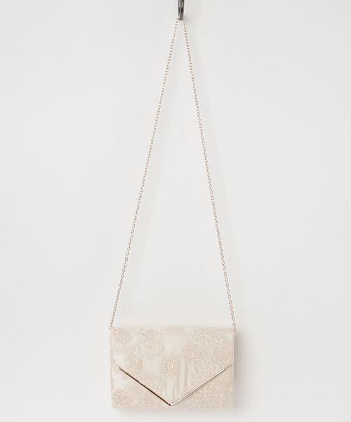 [kana] フラワーレース刺繍 パーティー クラッチ バッグ / 結婚式 パーティーバッグ