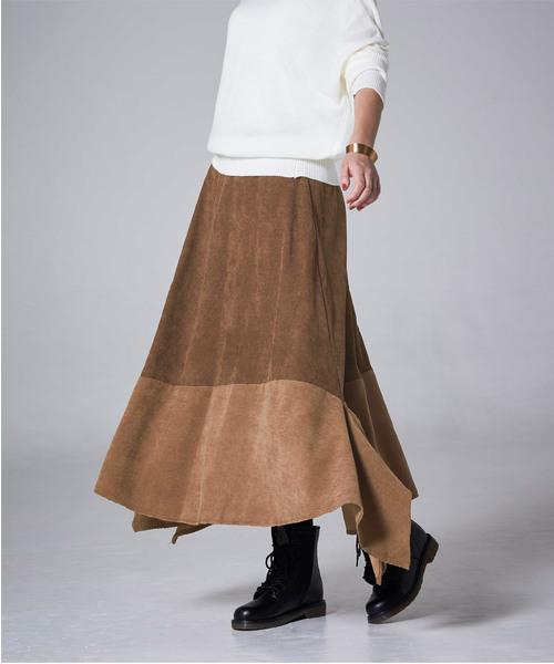 [titivate] MIXコーデュロイアシンメトリースカート