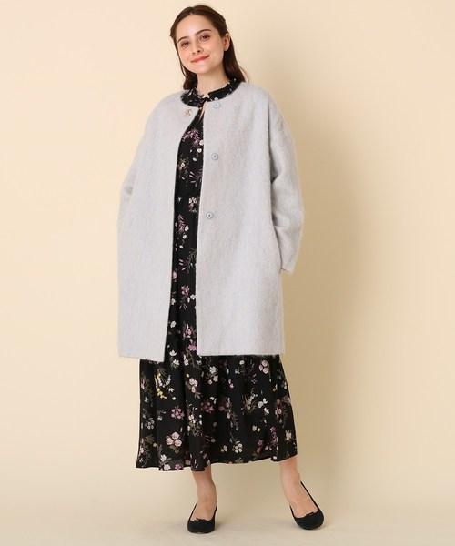 [Couture brooch] 【WEB限定サイズ(LL)あり】メランジシャギーコート