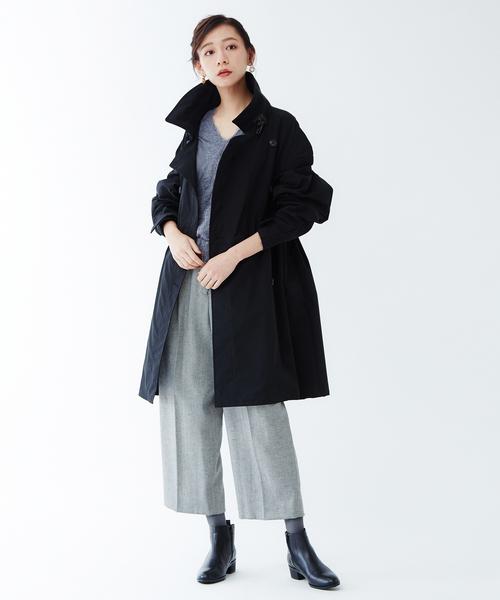 ファッションコート×クロップドワイドパンツ