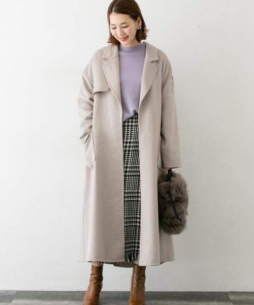 大阪|12月服装|チェックスカートコーデ