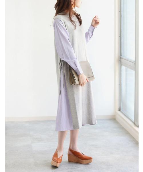 [HER CLOSET] 【vingtrois】▼綿素材になって再入荷▼ストライプシャツ+ニットベストドッキング切り替えワンピース