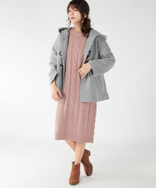 Aラインコート×ワンピの服装