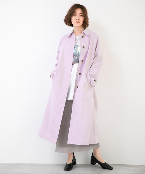 ステンカラーコート×チュールスカート