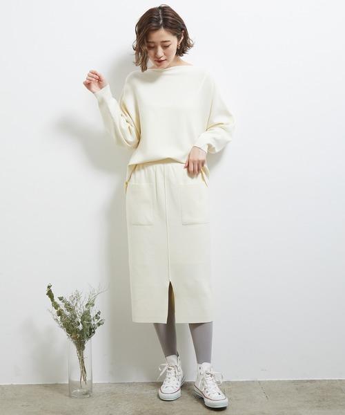 [ROPE' PICNIC] 【セットアップ対応】Iラインポケットニットスカート