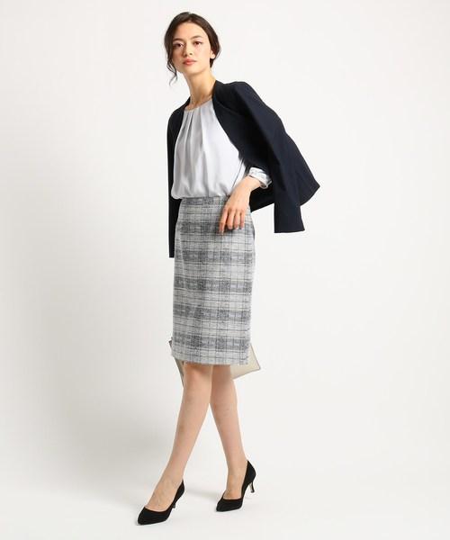 [INDIVI] [S]【ママスーツ/入学式 スーツ/卒業式 スーツ】ツイードチェックタイトスカート