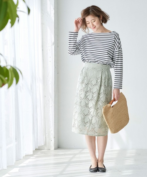 [ROPE' PICNIC] 【WEB限定】【セットアップ対応】ボタニカルレーススカート