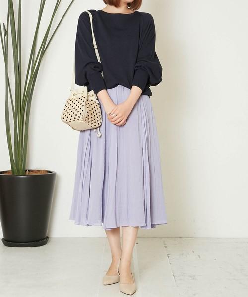 [Liesse] メモリーシフォンフレアースカート