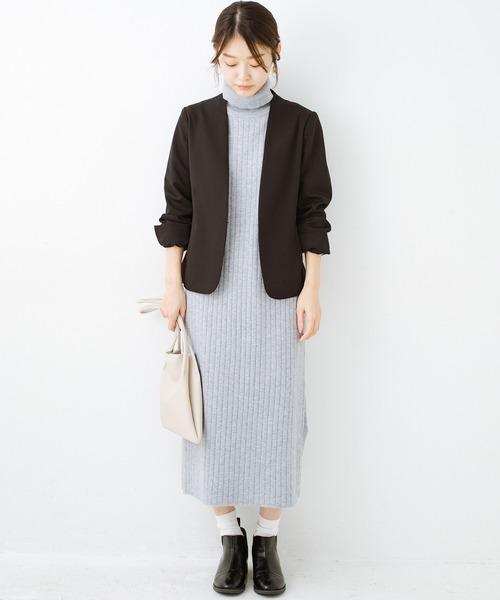 [haco!] セットで着るだけパッとかわいい ニットトップス&ノースリーブニットワンピースセット