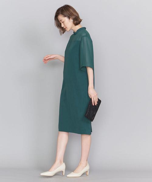 [BEAUTY&YOUTH UNITED ARROWS] BY DRESS ツイル×ジョーゼットスタンドカラードレス