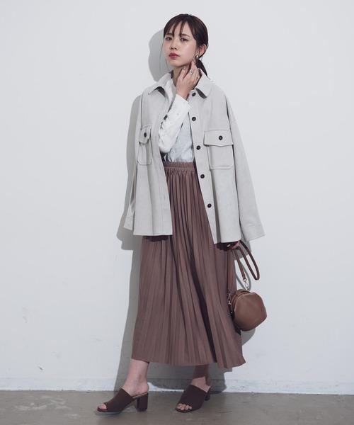 茶色プリーツスカート×CPOジャケットの秋コーデ