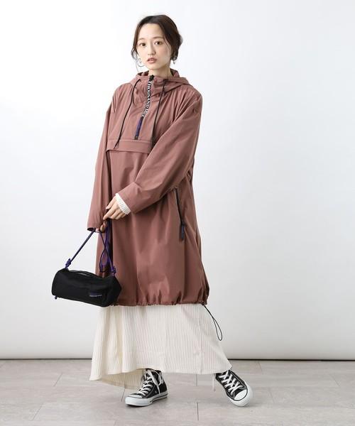 アノラックコート×ロングフレアスカート