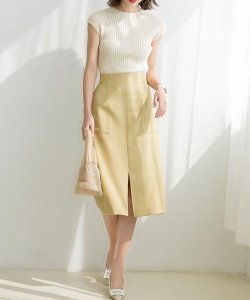 [SAISON DE PAPILLON] センタースリット入りセミタイトスカート
