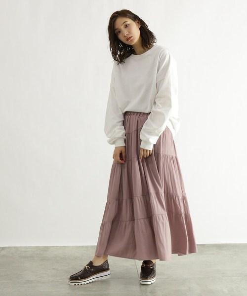 [OZOC] [洗える]サテンティアードスカート