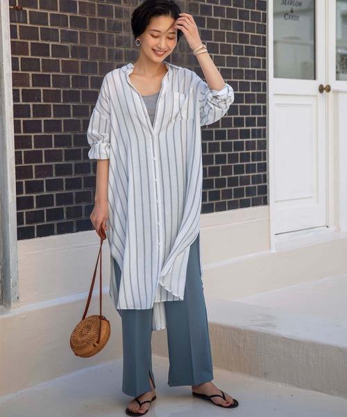 [GeeRA] 【20夏新着】リネン調ロングシャツ
